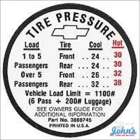 Tire Pressure Decal- Regular A X