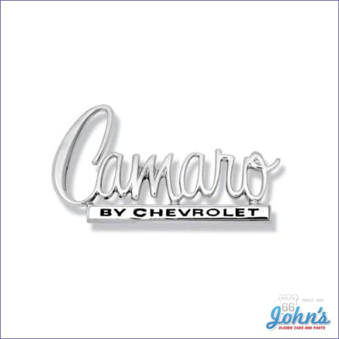 Trunk Lid Emblem Camaro By Chevrolet. Gm Licensed Reproduction. F2