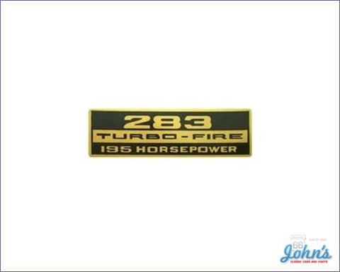 Valve Cover Decal 283 Turbo-Fire 195Hp. Each A X