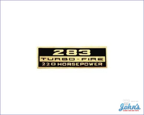 Valve Cover Decal 283 Turbo-Fire 220Hp Each A X