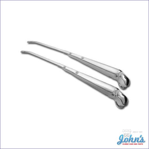 Wiper Arms With Chrome Mounting Points Pair. Gm Licensed Reproduction X