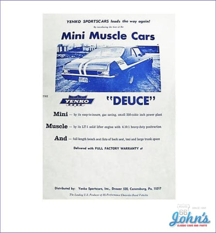 Yenko Deuce Sales/specification Sheet X