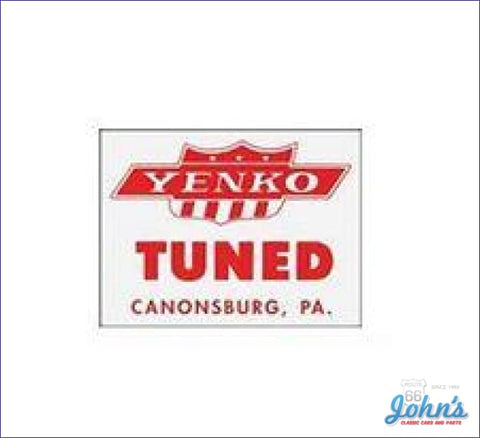 Yenko Tuned Window Decal. Each A F1 F2 X