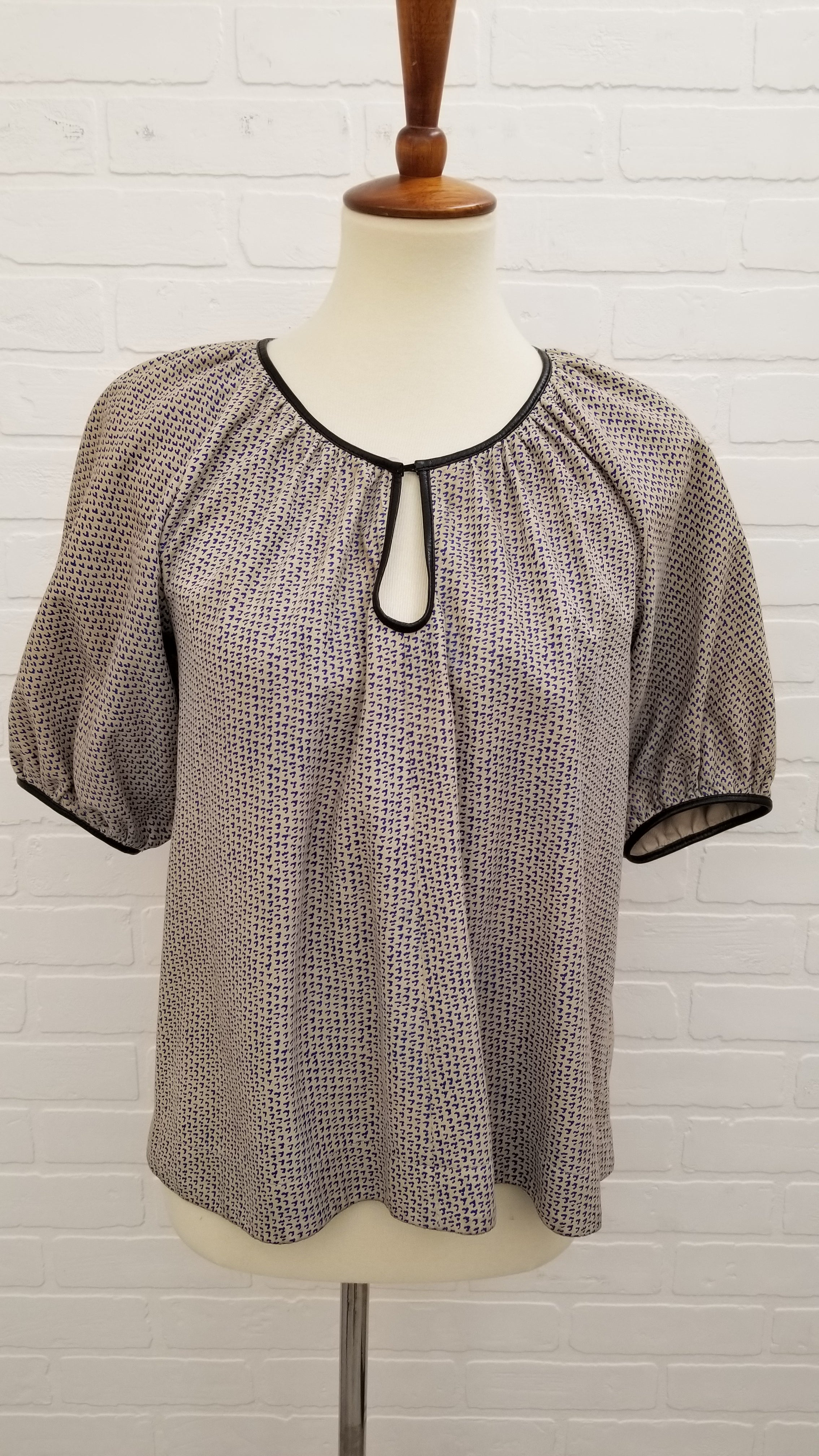 MiH Small Short Sleeve Leather Top Taupe Blau