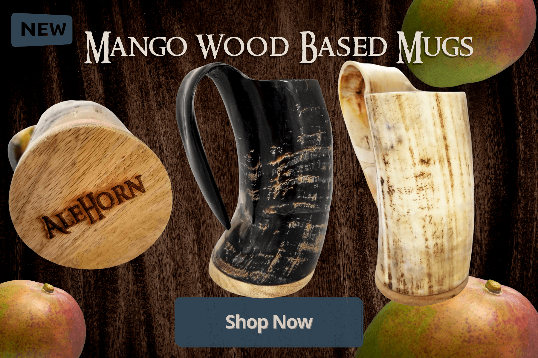 brand new large and extra large XL mango wood based drinking horns. Smooth finished viking mugs and Norse tankards will keep you full of beer or mead and they look incredibly beautiful