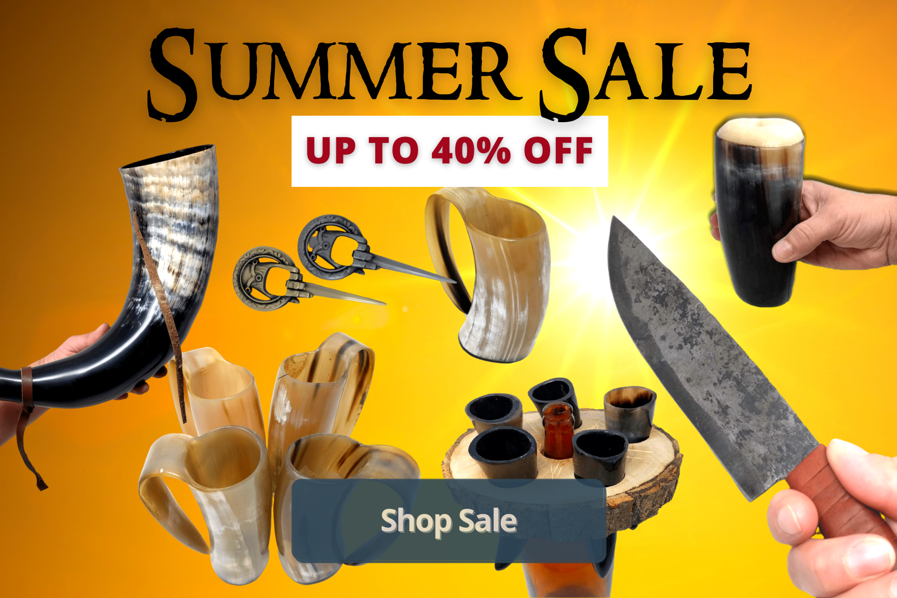 AleHorn's summer sale includes viking products up to 40% off. Mead cups to Raven Viking Knife to Golden Tankards and bottle openers and Gjallarhorns and shot glass wood holders