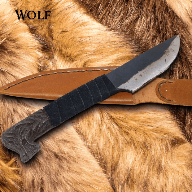 Wolf Head Viking Knife