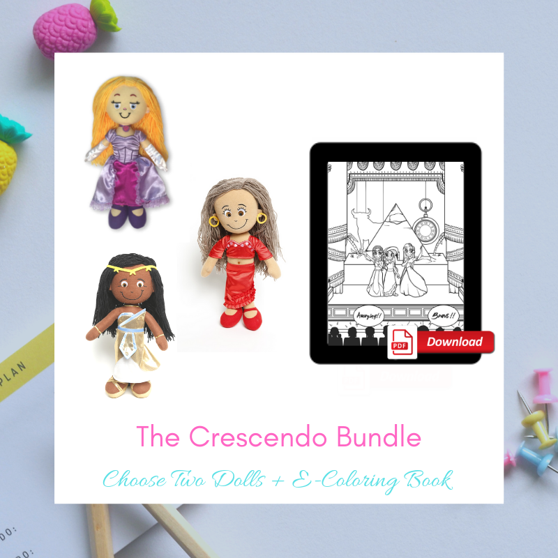 Choose 2 Dolls + E-Coloring Book = The Crescendo Bundle