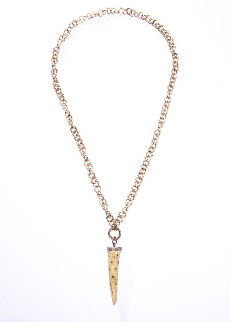 Hand Hammered Chain w/Diamond Clasp and Diamond Encrusted Tusk #1637-Necklaces-Gretchen Ventura