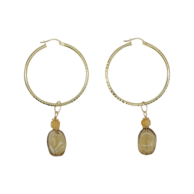 Gold Plated Hoops with Removable Citrine Charm Drops