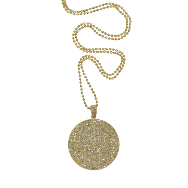 STERLING SILVER GOLD PLATED 35MM DIAMOND DISC
