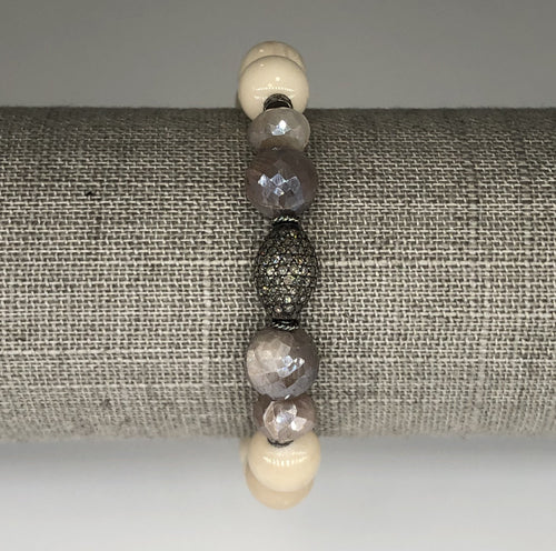 Bone and Moonstone Diamond Bead Stretch Bracelet
