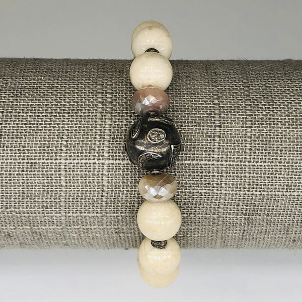 Bone and Silver Bead Stretch Bracelet