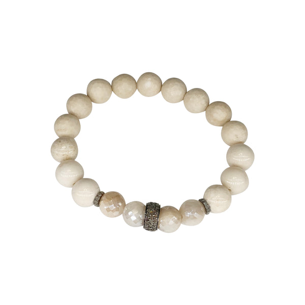Bone, Silverite and Diamond Bead Stretch Bracelet
