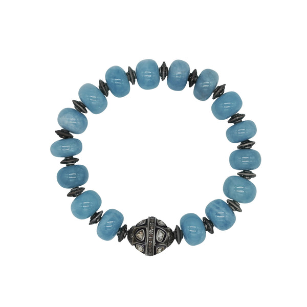 Aqua and Diamond Bead Stretch Bracelet