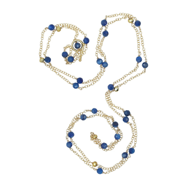 Gold Plated Lapis Bead 40'' Chain