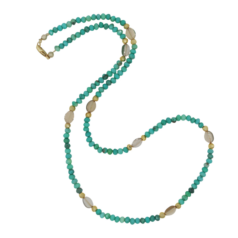 "Jade and Crystal Bead 20"" Necklace"