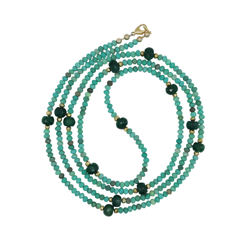 "Jade and Emerald 42"" Bead Necklace"