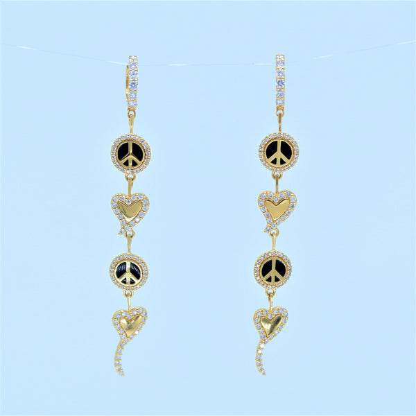 Peace and Love - Diamond Drop Earrings