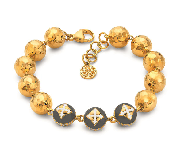 Cross - Enamel Bead And Hammered Ball Bracelet