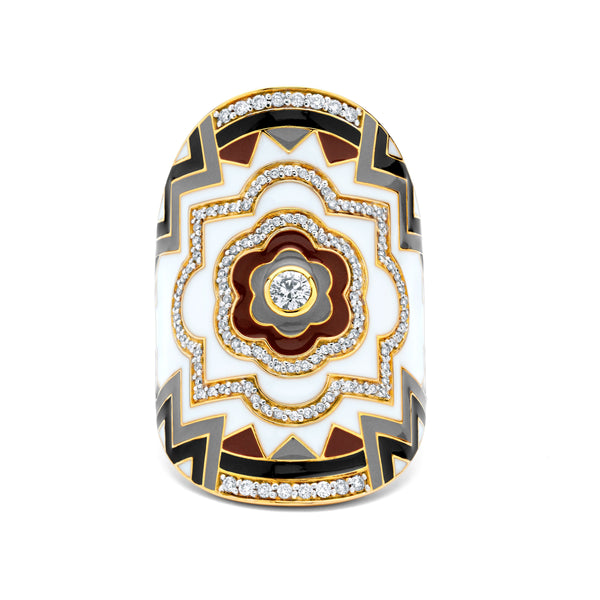 Mandala - Brown Enamel Wrap Ring