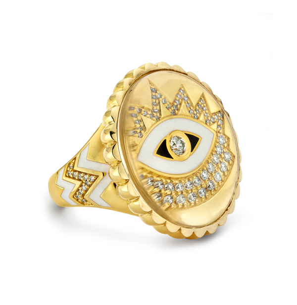 Evil Eye - Gold Scalloped Ring