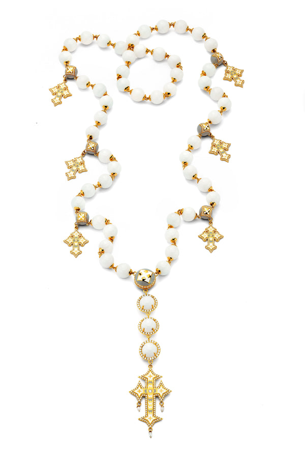 Cross - White Quartz Rosary Necklace