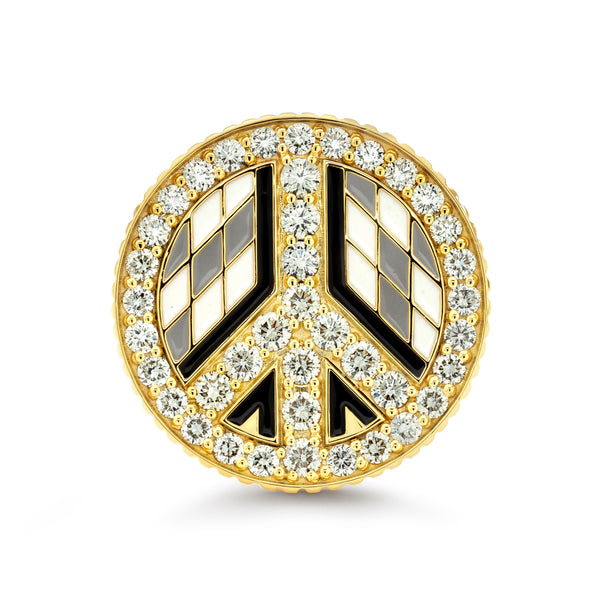 Peace Sign - Enamel Ring