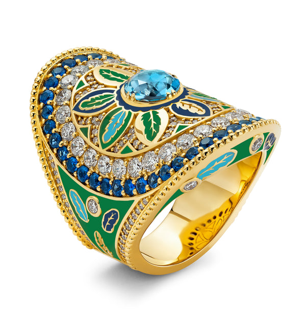 Feather - Green And Blue Enamel Wrap Ring
