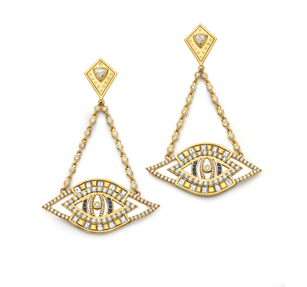 Evil Eye - Diamond Cut-Out Earrings