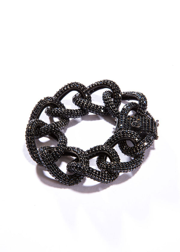 Black Spinel and Sterling Curb Chain Bracelet #2855-Bracelets-Gretchen Ventura