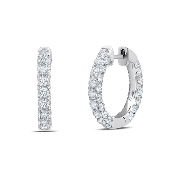 White Diamond 3-Sided Hoops