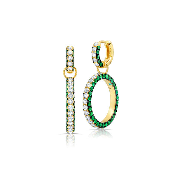 Emerald & Diamond 3 Sided Earrings
