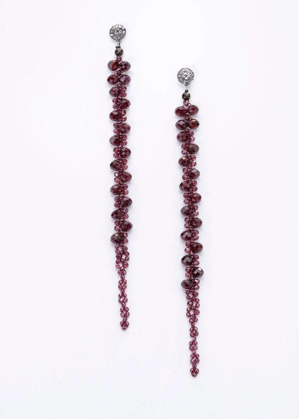 Faceted Garnet Macramé Earrings on Diamond Post
