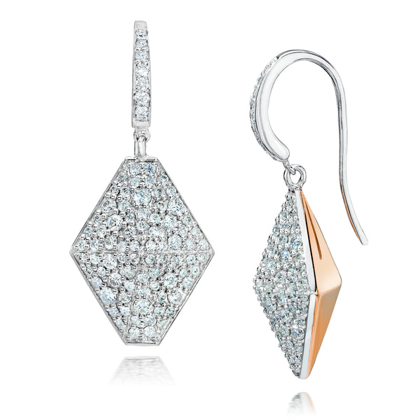 Diamond Origami Drop Earrings