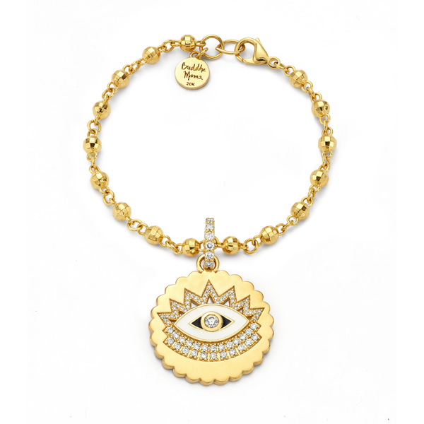 Evil Eye - Gold Scalloped Coin Pendant