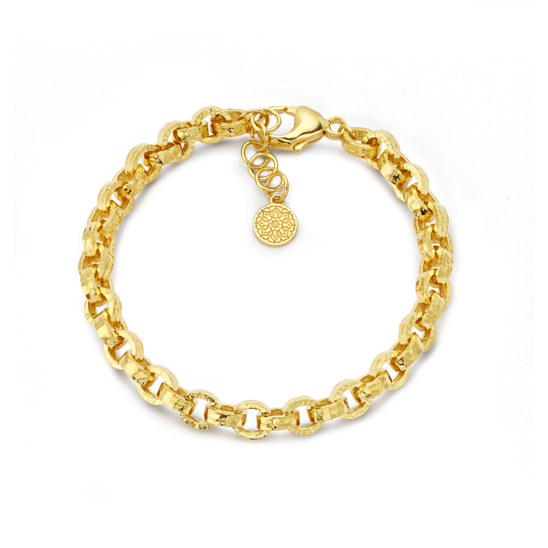 Link Bracelet - Gold Hammered