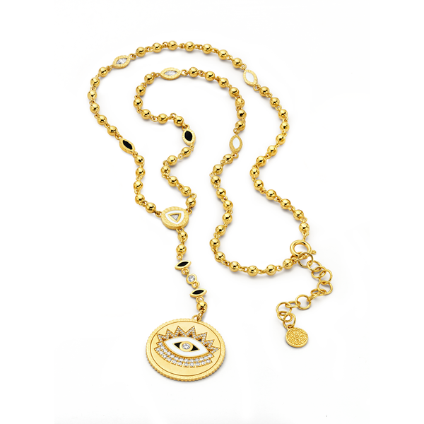 Evil Eye - Gold Scalloped Rosary