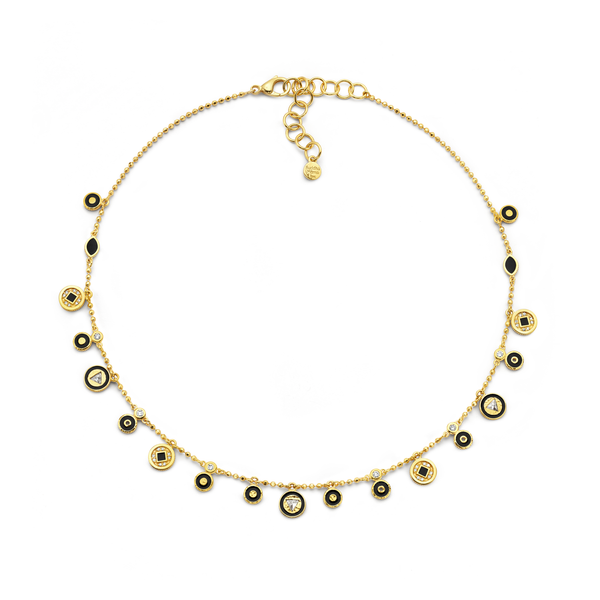 Coin Necklace - Black Enamel & Diamond