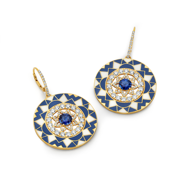 Mandala - White & Navy Enamel Earrings