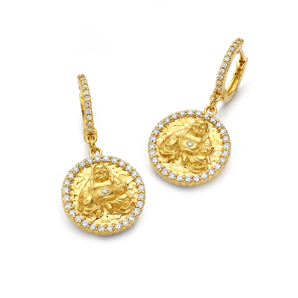 Buddha - Diamond Coin Earrings