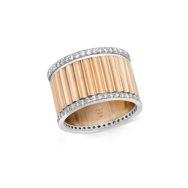 Two Tone Diamond Fluted Band Ring