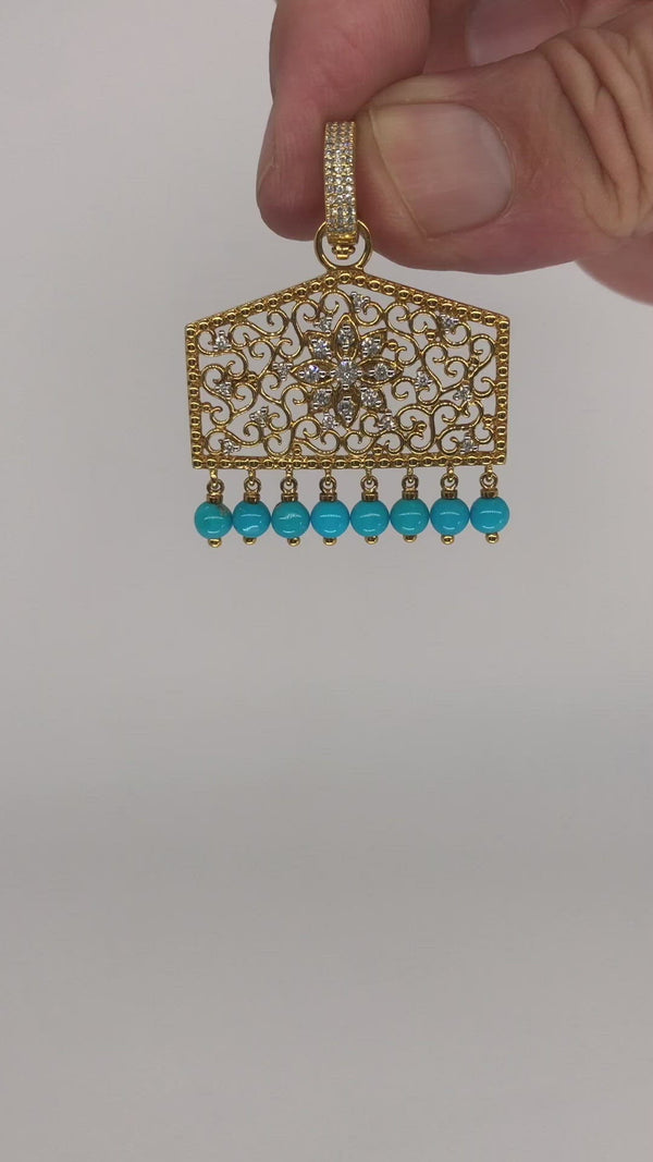 Tassel -  Filigree Pendant With Sleeping Beauty Turquoise And Diamonds