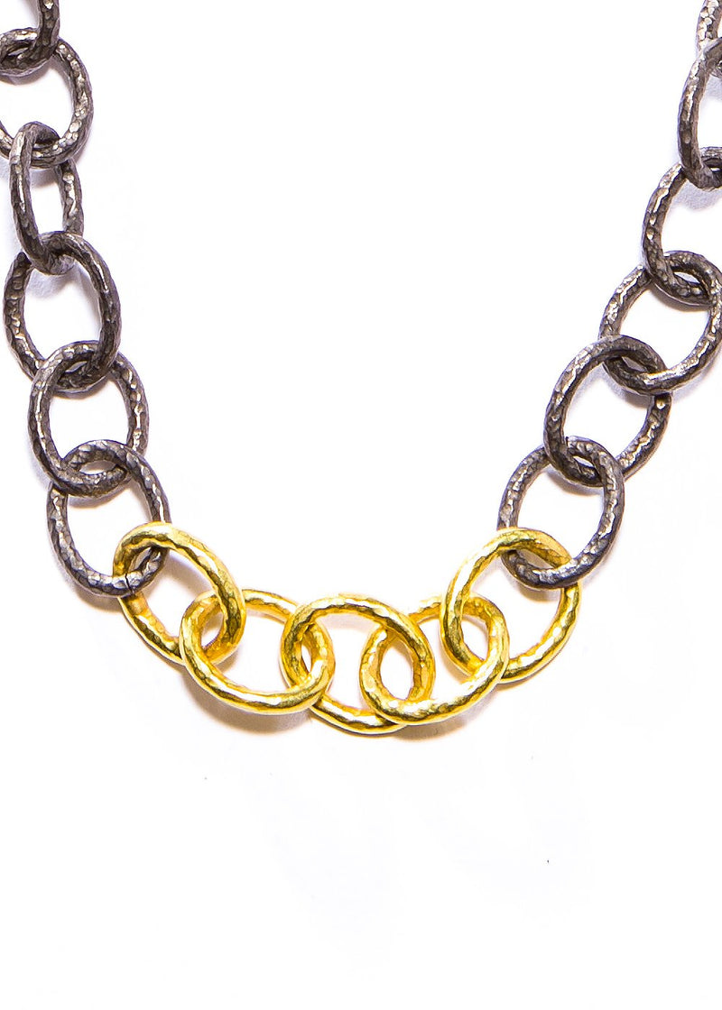 Hand Hammered 18K Gold oxidized sterling link chain #9410-Necklaces-Gretchen Ventura