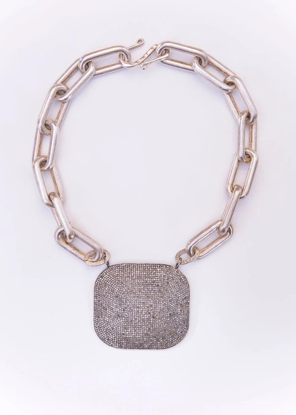 Diamond Plate on Acid Washed Sterling Silver GV Link Necklace