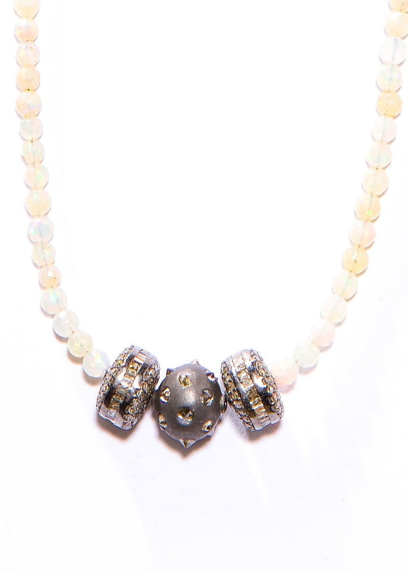 "Faceted Opal Beads w/ Pave & Baguette Diamonds (18"") #9430-Necklaces-Gretchen Ventura"