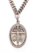 Oxidized Sterling & Diamond Blessed Mary Pendant & Chain w/ Diamond Clasp #9402-Necklaces-Gretchen Ventura