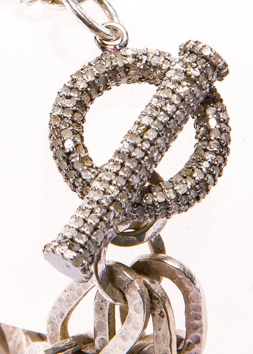 Acid Wash Hand Hammered Silver Links Bracelet w/ Pave Diamond Toggle #2848-Bracelets-Gretchen Ventura