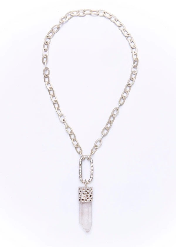 Crystal and Diamond Pendant with Hammered Link Chain