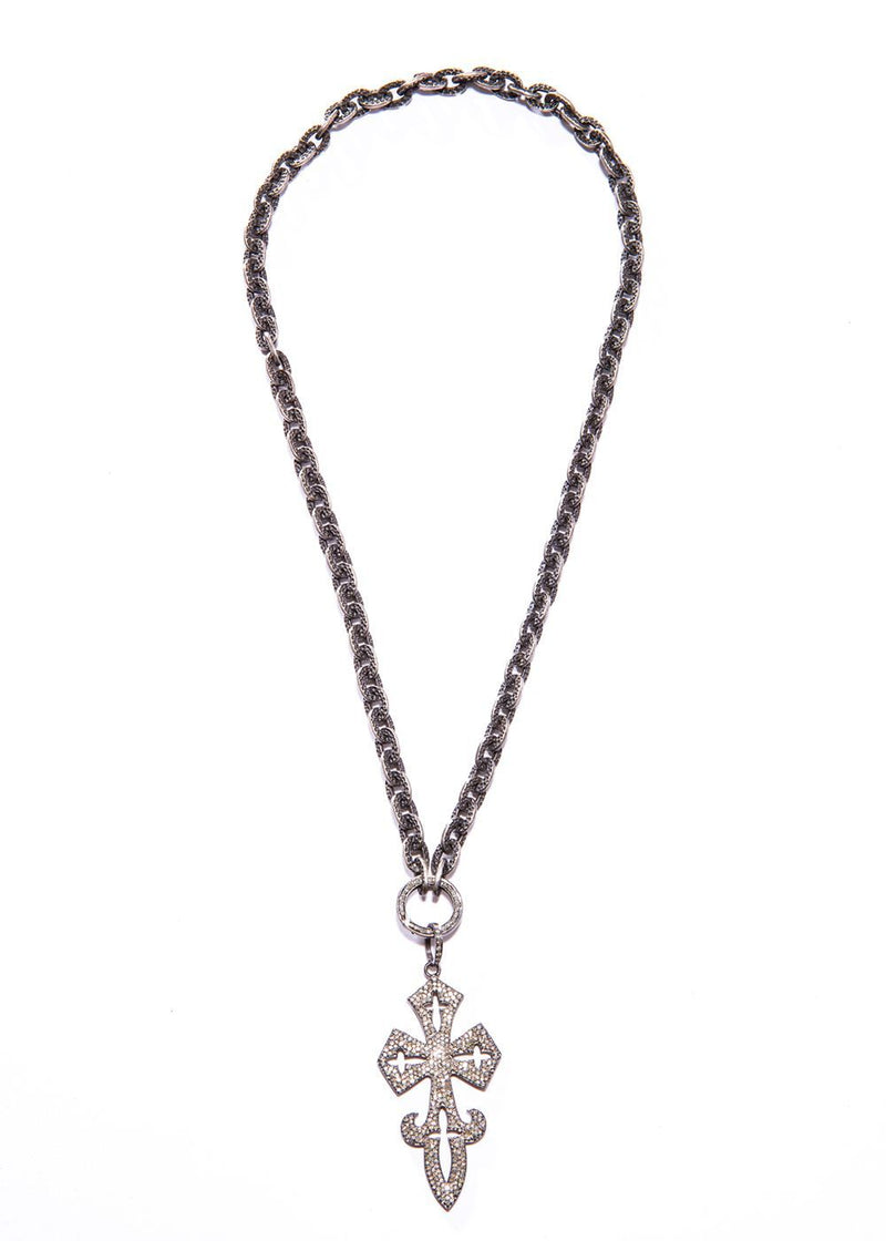 Pave Diamond Cross on oxidized Hand Hammered GV Chain W/ Lobster claw clasp #9409-Necklaces-Gretchen Ventura